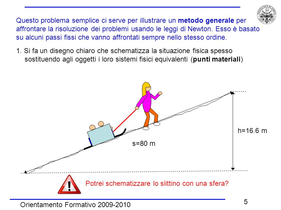 Orientamento Formativo 2009-2010 5 Questo problema semplice ci serve per illustrare un metodo generale per affrontare la risoluzione dei problemi usando le leggi di Newton.