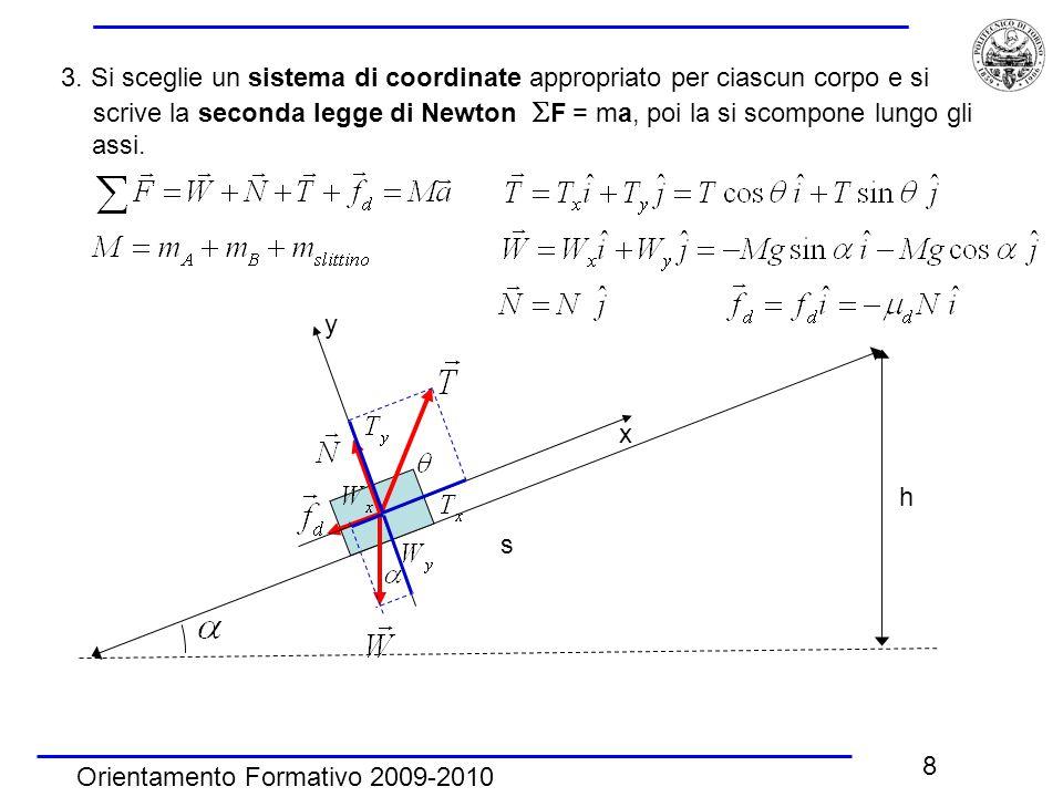 Orientamento Formativo 2009-2010 8 3. Si sceglie un sistema di coordinate appropriato per ciascun corpo e si scrive la seconda legge di Newton  F = m