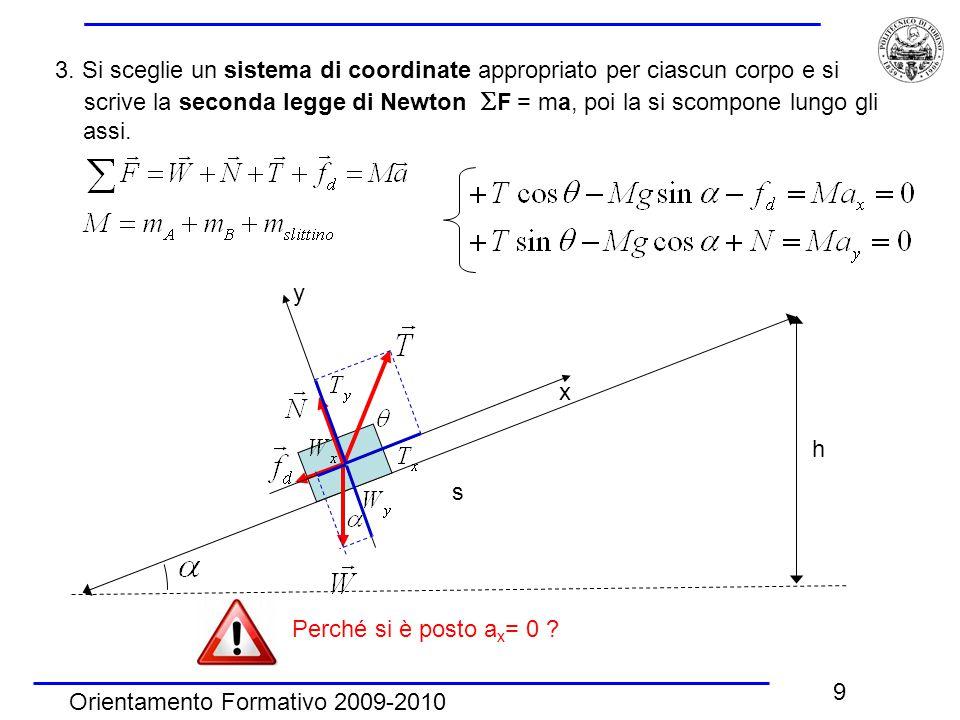 Orientamento Formativo 2009-2010 9 3. Si sceglie un sistema di coordinate appropriato per ciascun corpo e si scrive la seconda legge di Newton  F = m
