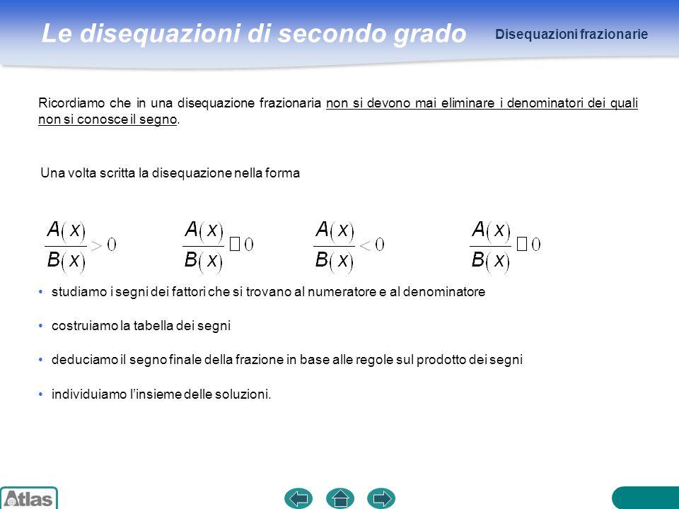 Le disequazioni di secondo grado ESEMPIO Disequazioni frazionarie deve essere x ≠ 0 ∧ x ≠ 2 Il dominio della disequazione è R − {0, 2}.