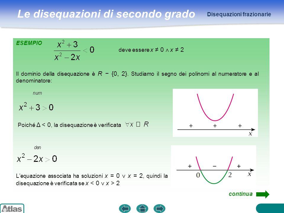 Le disequazioni di secondo grado Disequazioni frazionarie Costruiamo la tabella dei segni: L'insieme delle soluzioni è quindi l'intervallo 0 < x < 2 02R +++ + + − − + + segno di x 2 + 3 segno di x 2 − 2x frazione S