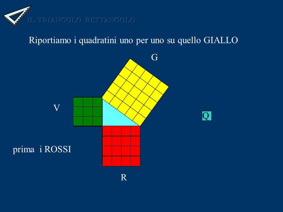 Riportiamo i quadratini uno per uno su quello GIALLO G R V Q G R V prima i ROSSI