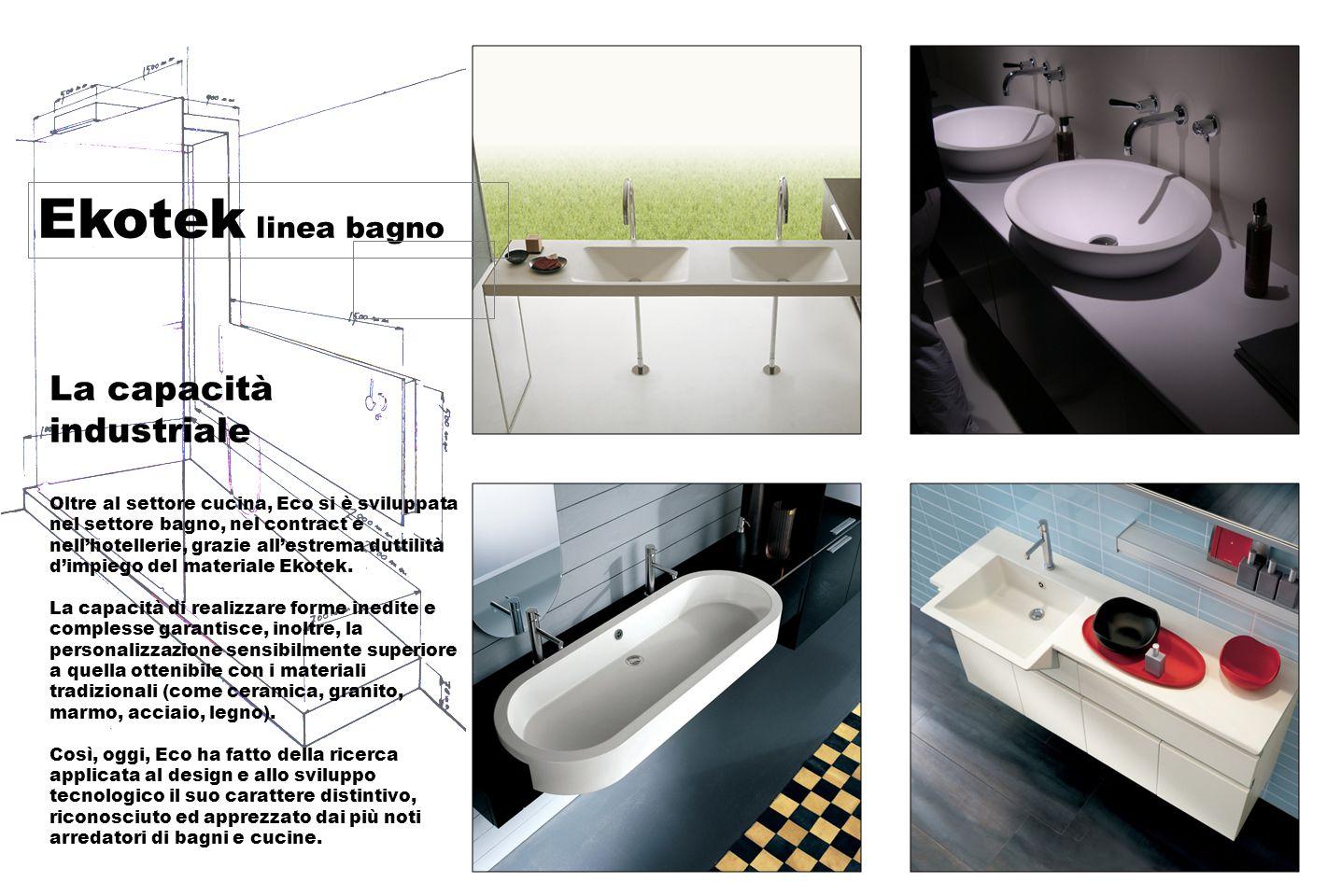 Ekotek linea bagno Un prodotto unico Ekotek è il risultato di una combinazione di resine altamente selezionate, cariche minerali naturali e pigmenti.