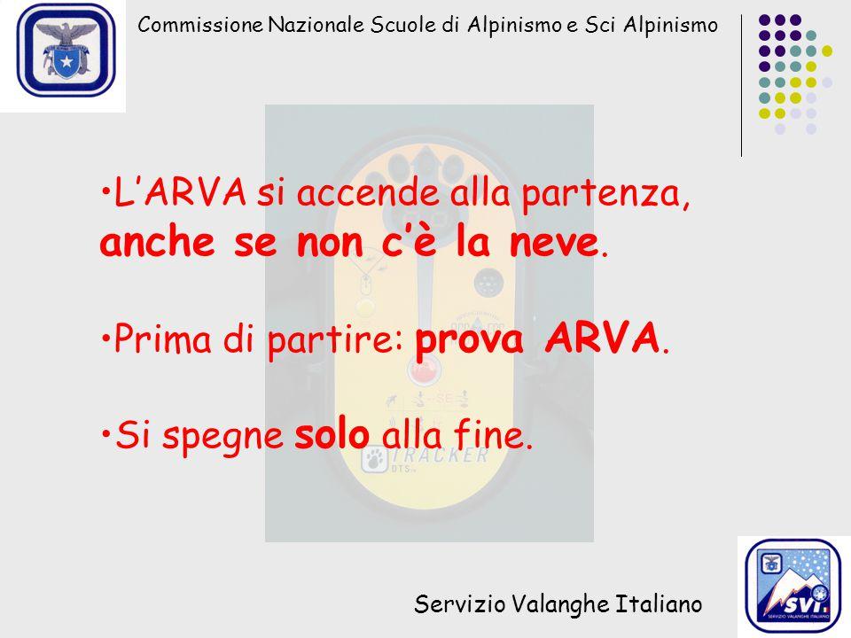 Commissione Nazionale Scuole di Alpinismo e Sci Alpinismo Servizio Valanghe Italiano L'ARVA si accende alla partenza, anche se non c'è la neve.