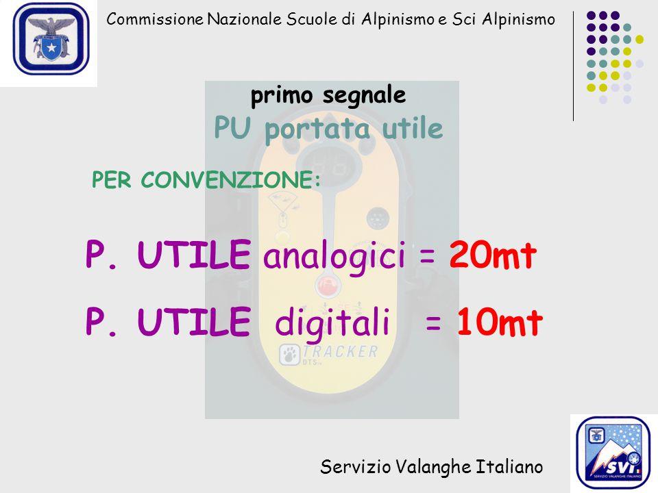 Commissione Nazionale Scuole di Alpinismo e Sci Alpinismo Servizio Valanghe Italiano primo segnale PU portata utile PER CONVENZIONE: P. UTILE analogic