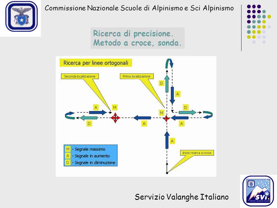 Commissione Nazionale Scuole di Alpinismo e Sci Alpinismo Servizio Valanghe Italiano Ricerca di precisione. Metodo a croce, sonda.