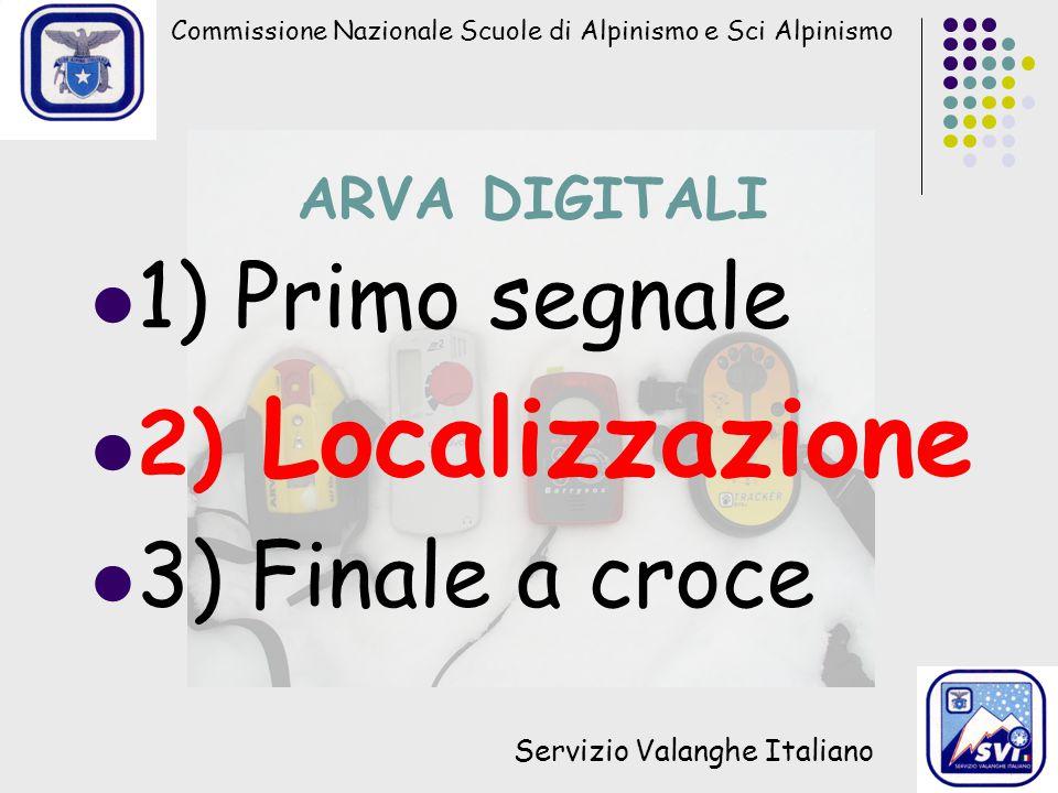 Commissione Nazionale Scuole di Alpinismo e Sci Alpinismo Servizio Valanghe Italiano ARVA DIGITALI 1) Primo segnale 2) Localizzazione 3) Finale a croc