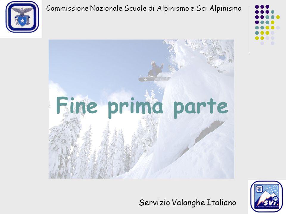 Commissione Nazionale Scuole di Alpinismo e Sci Alpinismo Servizio Valanghe Italiano Fine prima parte