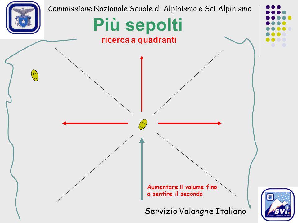 Commissione Nazionale Scuole di Alpinismo e Sci Alpinismo Servizio Valanghe Italiano Più sepolti ricerca a quadranti Aumentare il volume fino a sentire il secondo