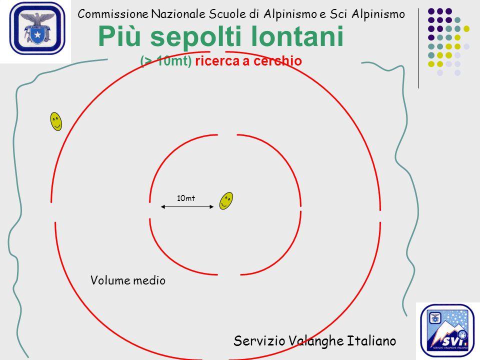 Commissione Nazionale Scuole di Alpinismo e Sci Alpinismo Servizio Valanghe Italiano Più sepolti lontani (> 10mt) ricerca a cerchio 10mt Volume medio