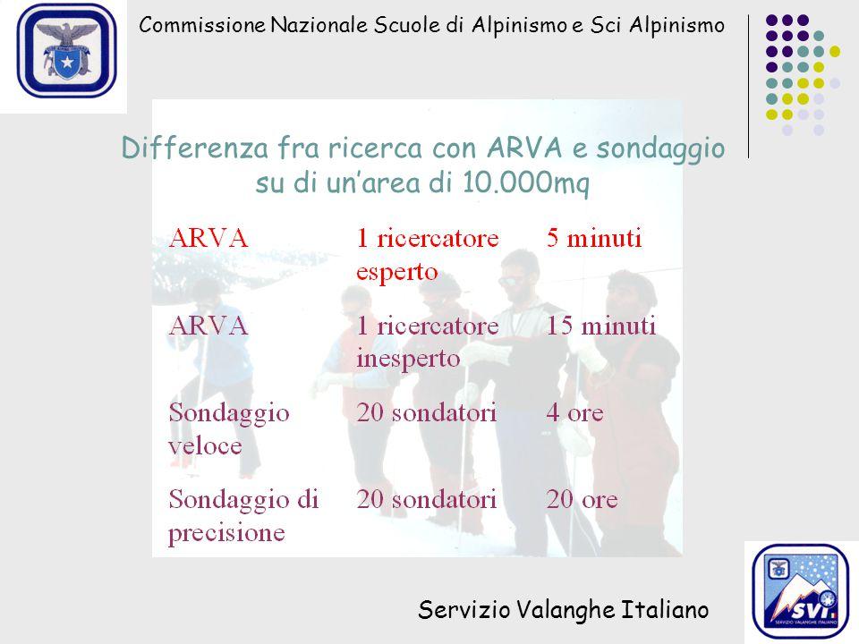 Commissione Nazionale Scuole di Alpinismo e Sci Alpinismo Servizio Valanghe Italiano Differenza fra ricerca con ARVA e sondaggio su di un'area di 10.000mq