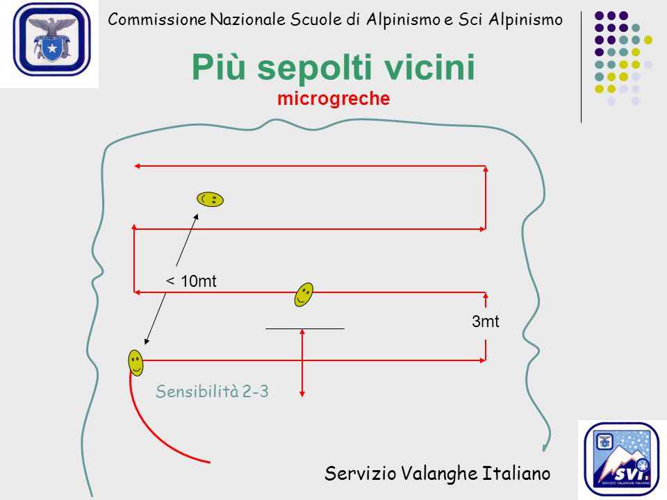 Commissione Nazionale Scuole di Alpinismo e Sci Alpinismo Servizio Valanghe Italiano Più sepolti vicini microgreche < 10mt Sensibilità 2-3 3mt