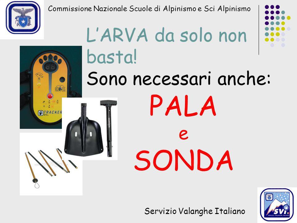 Commissione Nazionale Scuole di Alpinismo e Sci Alpinismo Servizio Valanghe Italiano L'ARVA da solo non basta! Sono necessari anche: PALA e SONDA