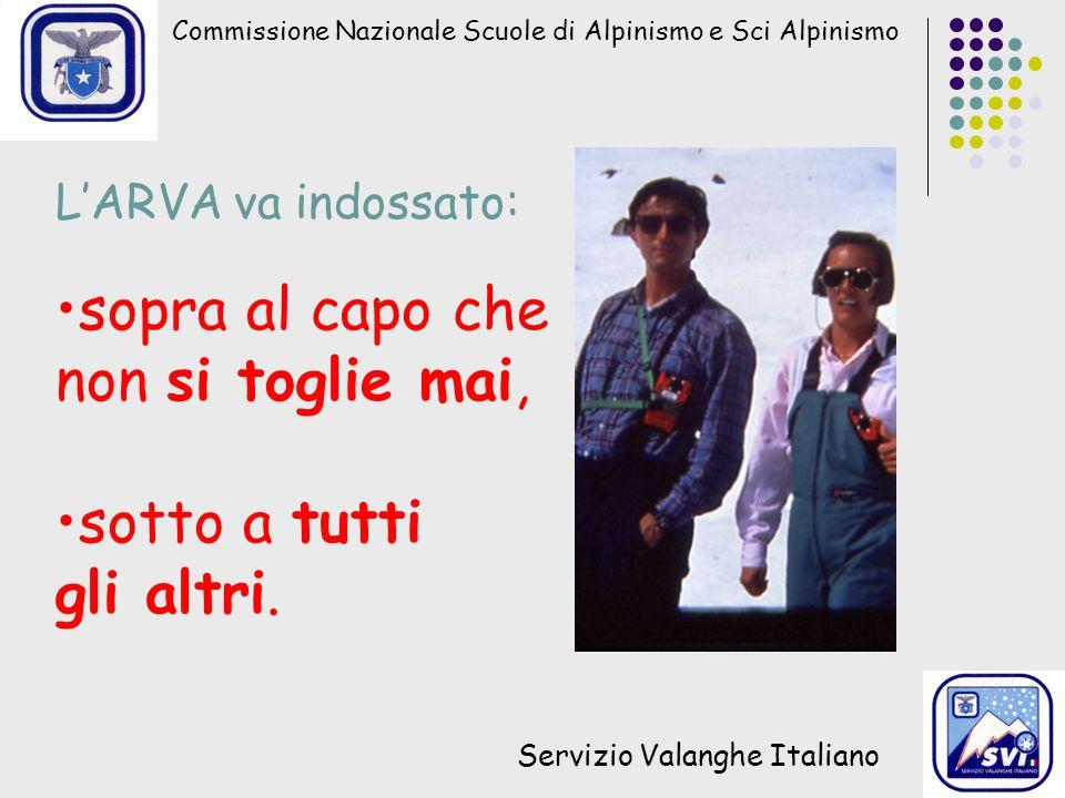 Commissione Nazionale Scuole di Alpinismo e Sci Alpinismo Servizio Valanghe Italiano L'ARVA va indossato: sopra al capo che non si toglie mai, sotto a tutti gli altri.