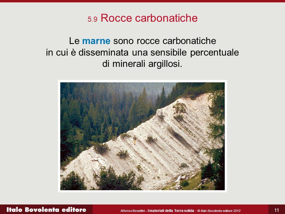 Alfonso Bosellini – I materiali della Terra solida - © Italo Bovolenta editore 2012 11 5.9 Rocce carbonatiche Le marne sono rocce carbonatiche in cui è disseminata una sensibile percentuale di minerali argillosi.