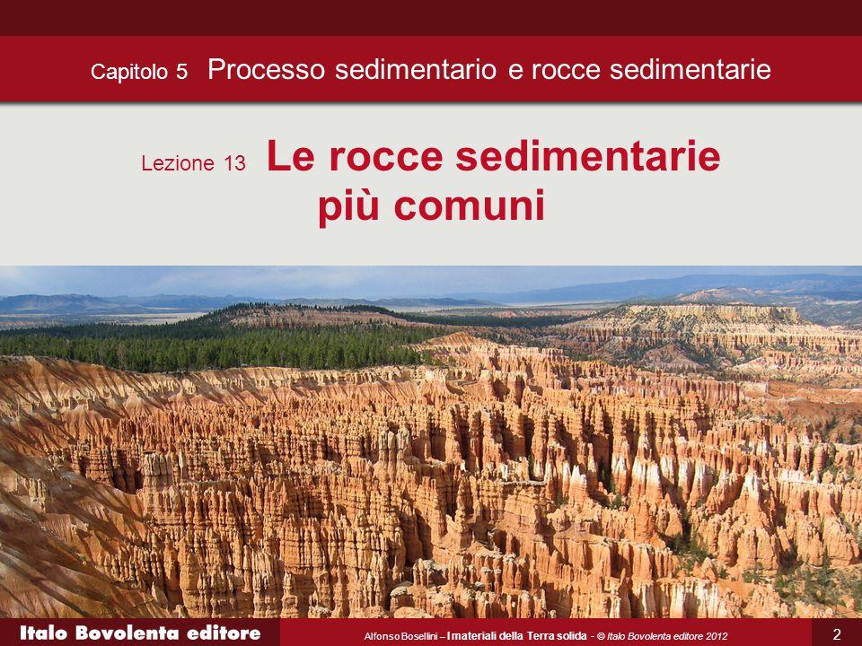 Alfonso Bosellini – I materiali della Terra solida - © Italo Bovolenta editore 2012 Capitolo 5 Processo sedimentario e rocce sedimentarie Lezione 13 Le rocce sedimentarie più comuni 2