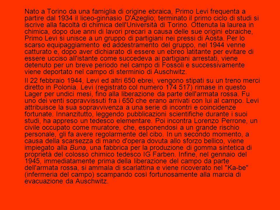 Nato a Torino da una famiglia di origine ebraica, Primo Levi frequenta a partire dal 1934 il liceo-ginnasio D'Azeglio; terminato il primo ciclo di stu