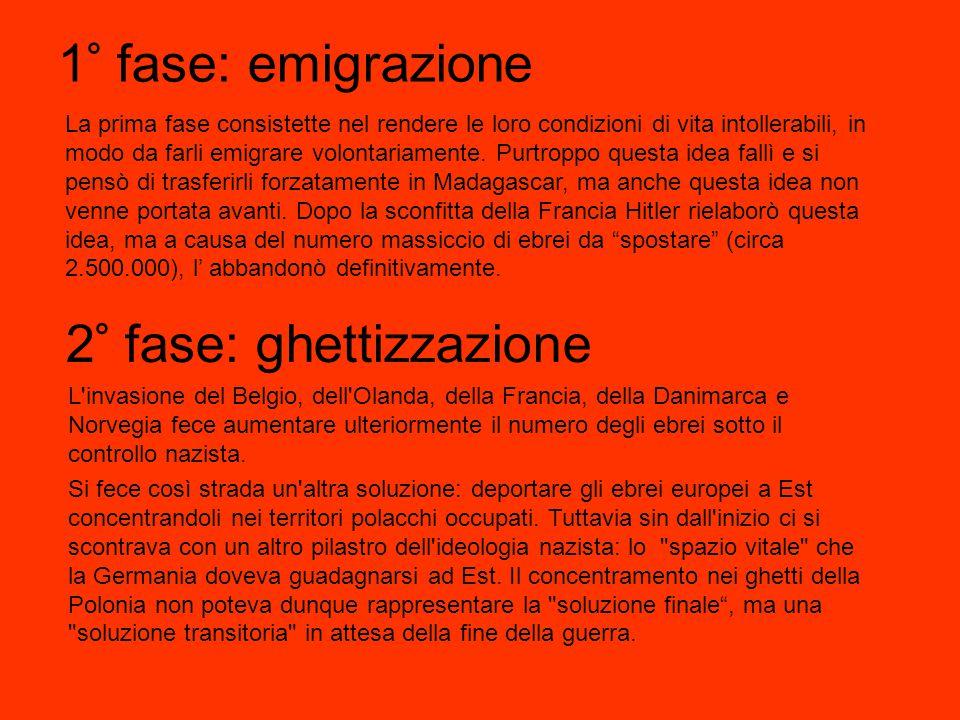 1° fase: emigrazione La prima fase consistette nel rendere le loro condizioni di vita intollerabili, in modo da farli emigrare volontariamente.