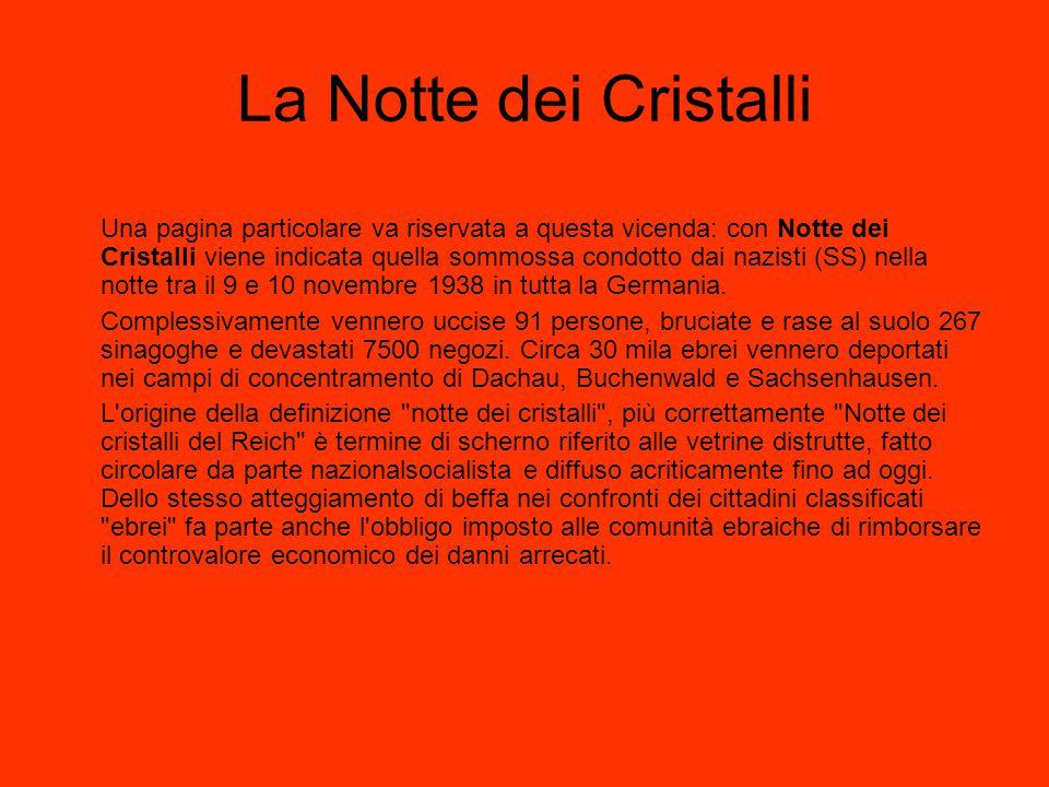 La Notte dei Cristalli Una pagina particolare va riservata a questa vicenda: con Notte dei Cristalli viene indicata quella sommossa condotto dai nazis