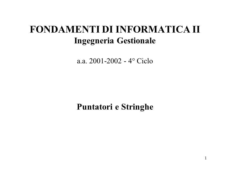 1 FONDAMENTI DI INFORMATICA II Ingegneria Gestionale a.a. 2001-2002 - 4° Ciclo Puntatori e Stringhe