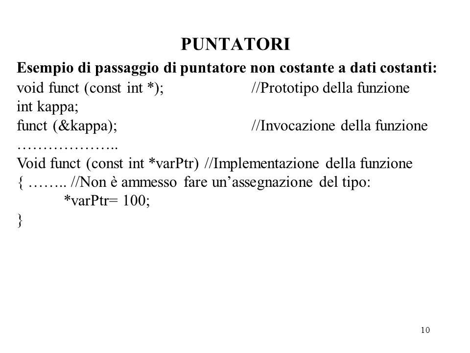 10 PUNTATORI Esempio di passaggio di puntatore non costante a dati costanti: void funct (const int *);//Prototipo della funzione int kappa; funct (&kappa);//Invocazione della funzione ………………..