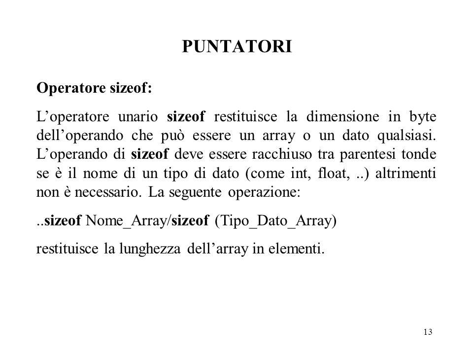 13 PUNTATORI Operatore sizeof: L'operatore unario sizeof restituisce la dimensione in byte dell'operando che può essere un array o un dato qualsiasi.