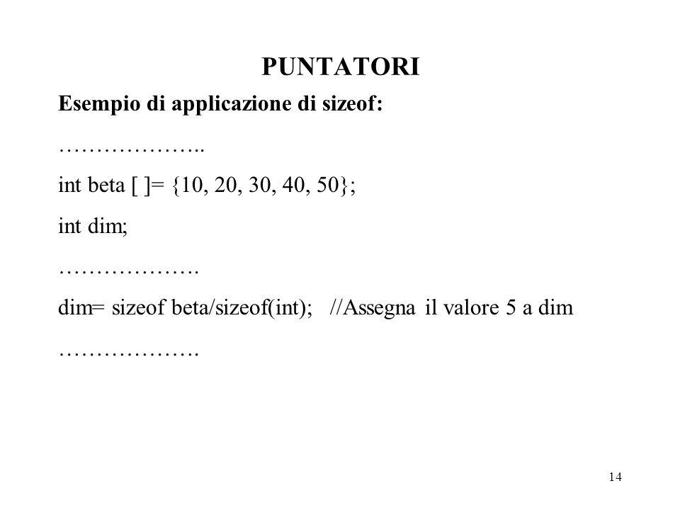 14 PUNTATORI Esempio di applicazione di sizeof: ………………..