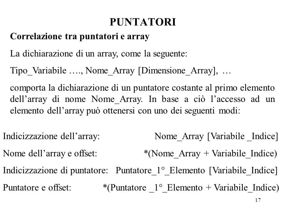 17 PUNTATORI Correlazione tra puntatori e array La dichiarazione di un array, come la seguente: Tipo_Variabile …., Nome_Array [Dimensione_Array], … comporta la dichiarazione di un puntatore costante al primo elemento dell'array di nome Nome_Array.