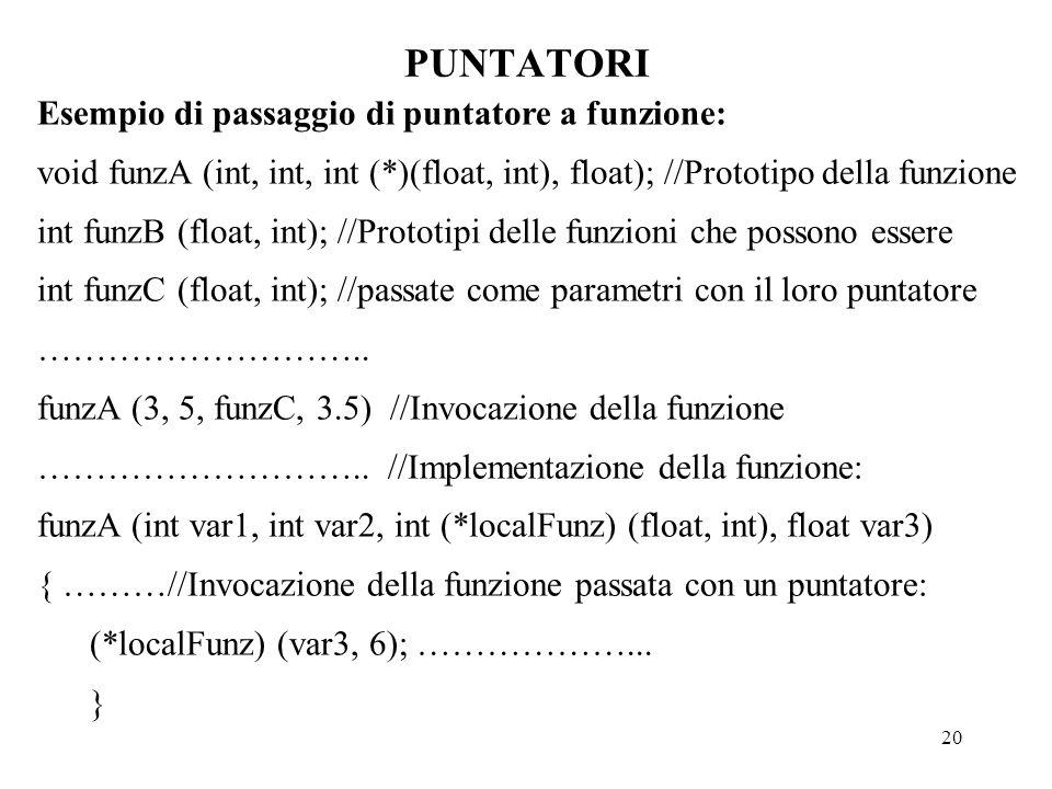 20 PUNTATORI Esempio di passaggio di puntatore a funzione: void funzA (int, int, int (*)(float, int), float); //Prototipo della funzione int funzB (float, int); //Prototipi delle funzioni che possono essere int funzC (float, int); //passate come parametri con il loro puntatore ………………………..