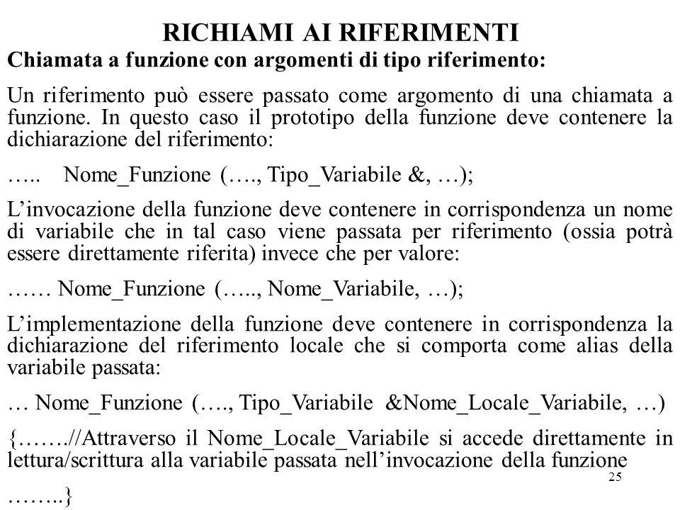 25 RICHIAMI AI RIFERIMENTI Chiamata a funzione con argomenti di tipo riferimento: Un riferimento può essere passato come argomento di una chiamata a funzione.