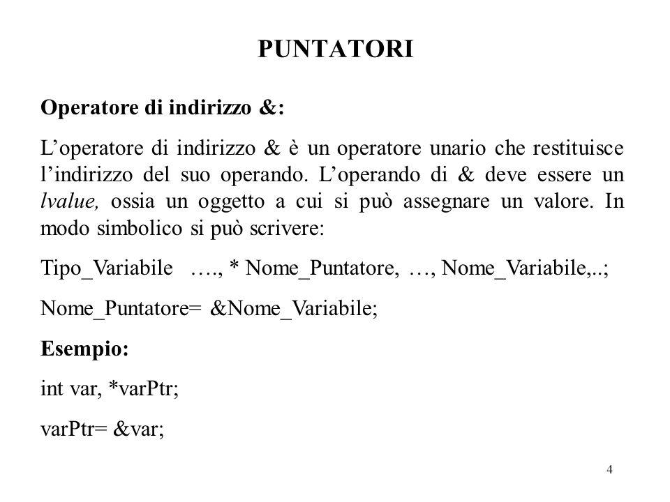 15 PUNTATORI Aritmetica dei puntatori: I casi considerati sono quelli di puntatori ad elementi di array, di tipo qualsiasi, e quindi di lunghezza in byte dipendente dal tipo.