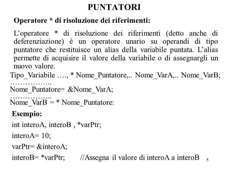 5 PUNTATORI Operatore * di risoluzione dei riferimenti: L'operatore * di risoluzione dei riferimenti (detto anche di deferenziazione) è un operatore unario su operandi di tipo puntatore che restituisce un alias della variabile puntata.