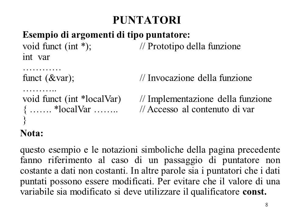 8 PUNTATORI Esempio di argomenti di tipo puntatore: void funct (int *);// Prototipo della funzione int var ………… funct (&var);// Invocazione della funzione ………..