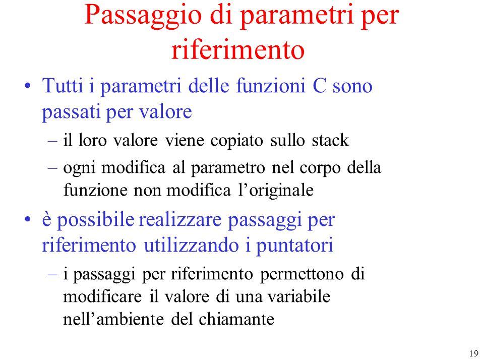 19 Passaggio di parametri per riferimento Tutti i parametri delle funzioni C sono passati per valore –il loro valore viene copiato sullo stack –ogni m