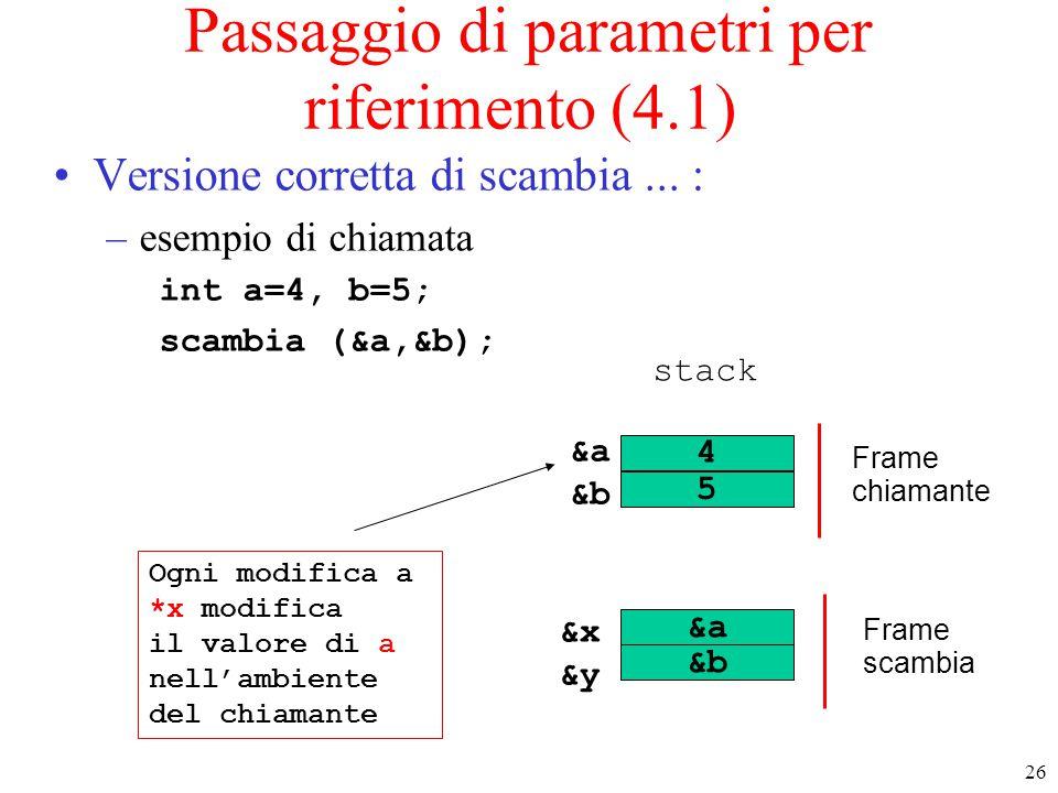 26 Passaggio di parametri per riferimento (4.1) Versione corretta di scambia... : –esempio di chiamata int a=4, b=5; scambia (&a,&b); 4 5 &a &b Frame
