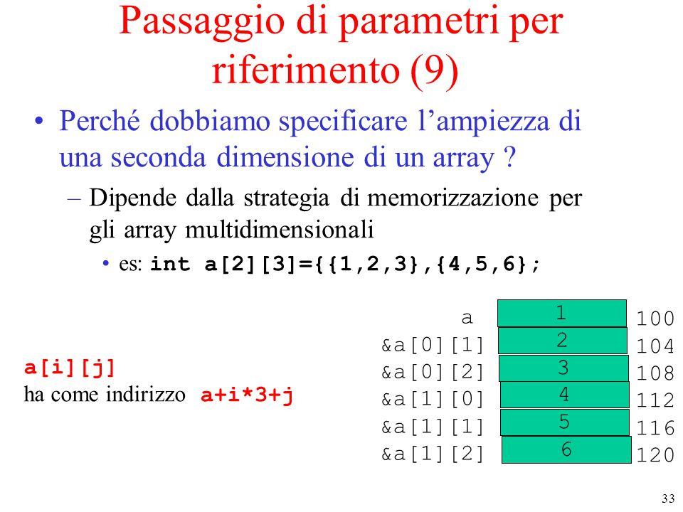 33 Passaggio di parametri per riferimento (9) Perché dobbiamo specificare l'ampiezza di una seconda dimensione di un array ? –Dipende dalla strategia