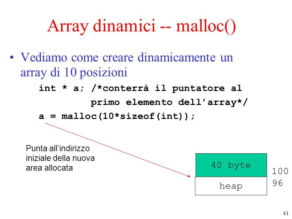 41 Array dinamici -- malloc() Vediamo come creare dinamicamente un array di 10 posizioni int * a; /*conterrà il puntatore al primo elemento dell'array
