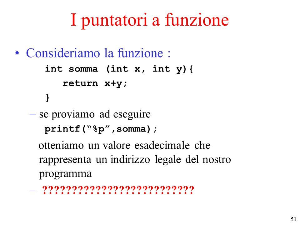 """51 I puntatori a funzione Consideriamo la funzione : int somma (int x, int y){ return x+y; } –se proviamo ad eseguire printf(""""%p"""",somma); otteniamo un"""