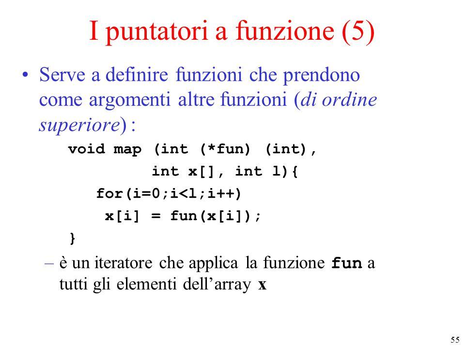55 I puntatori a funzione (5) Serve a definire funzioni che prendono come argomenti altre funzioni (di ordine superiore) : void map (int (*fun) (int),