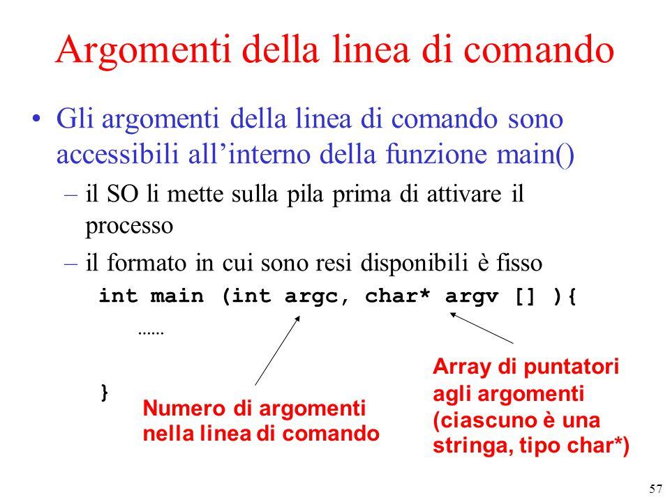 57 Argomenti della linea di comando Gli argomenti della linea di comando sono accessibili all'interno della funzione main() –il SO li mette sulla pila