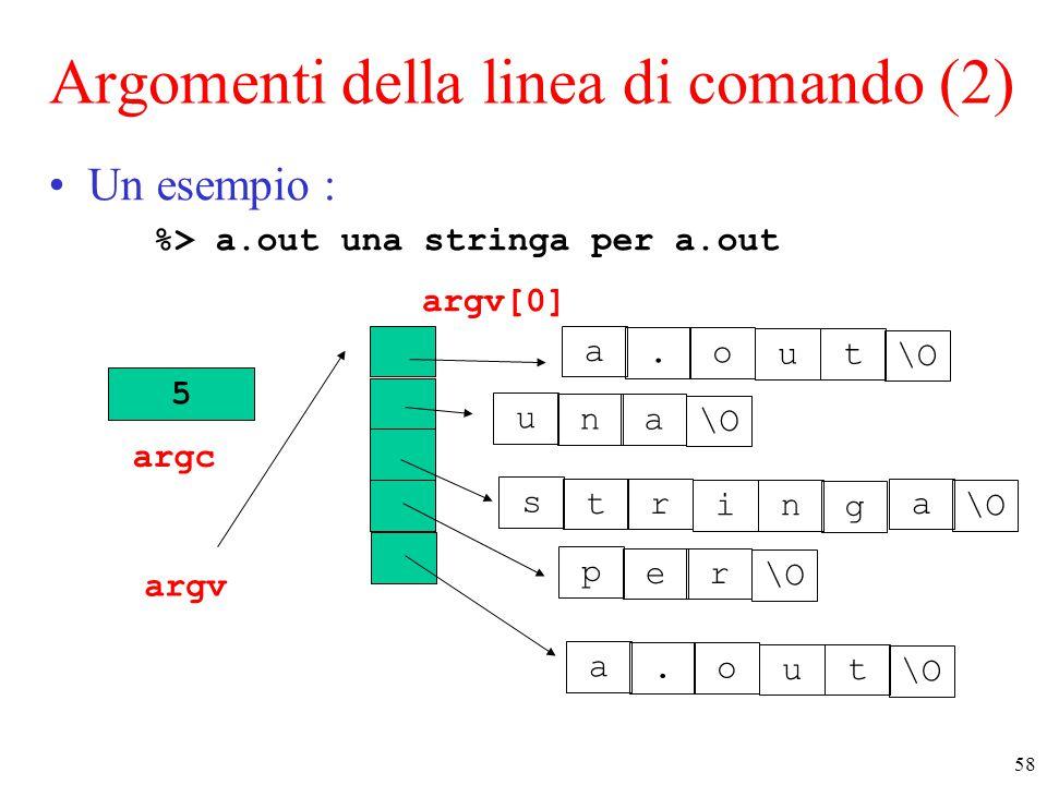 58 Argomenti della linea di comando (2) Un esempio : %> a.out una stringa per a.out 5 argc argv p er \O a.o ut s tr in g u na a a.o ut argv[0]