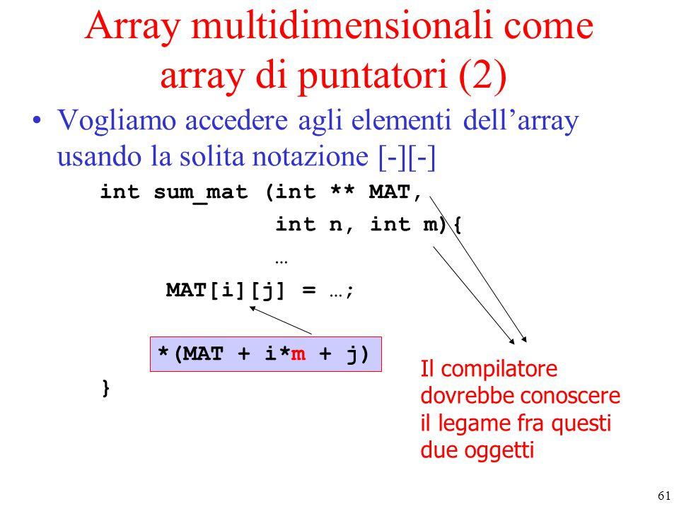 61 Array multidimensionali come array di puntatori (2) Vogliamo accedere agli elementi dell'array usando la solita notazione [-][-] int sum_mat (int *