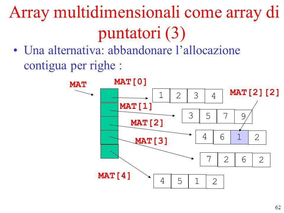 62 Array multidimensionali come array di puntatori (3) Una alternativa: abbandonare l'allocazione contigua per righe : MAT 7 26 2 1 23 4 4 61 2 4 51 2
