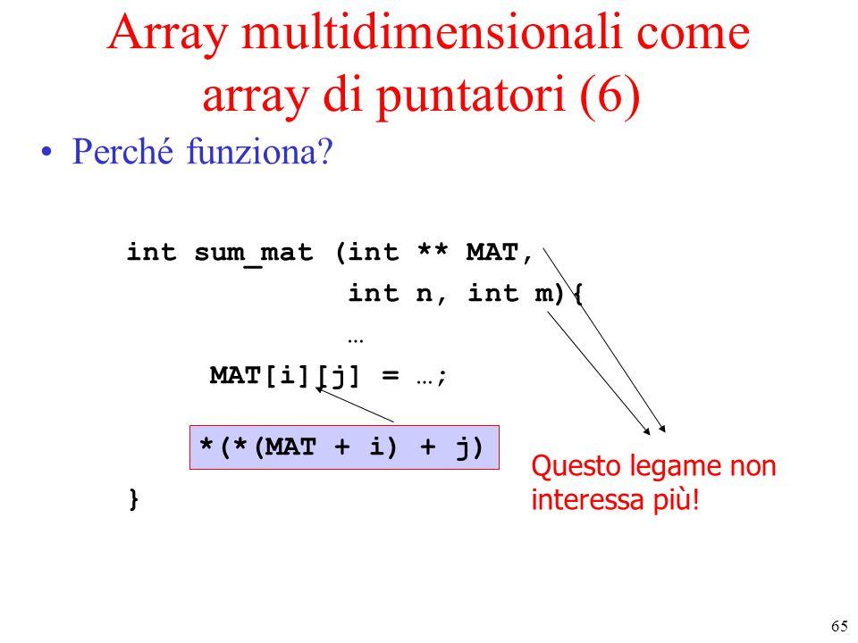 65 Array multidimensionali come array di puntatori (6) Perché funziona? int sum_mat (int ** MAT, int n, int m){ … MAT[i][j] = …; } *(*(MAT + i) + j) Q
