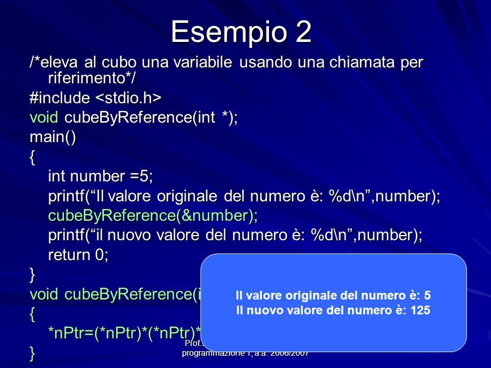 Prof.ssa Chiara Petrioli -- corso di programmazione 1, a.a. 2006/2007 Esempio 2 /*eleva al cubo una variabile usando una chiamata per riferimento*/ #i
