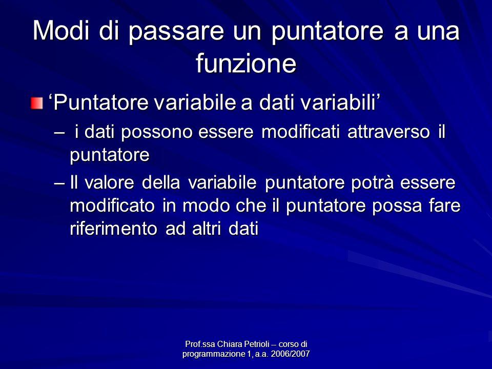 Prof.ssa Chiara Petrioli -- corso di programmazione 1, a.a. 2006/2007 Modi di passare un puntatore a una funzione 'Puntatore variabile a dati variabil