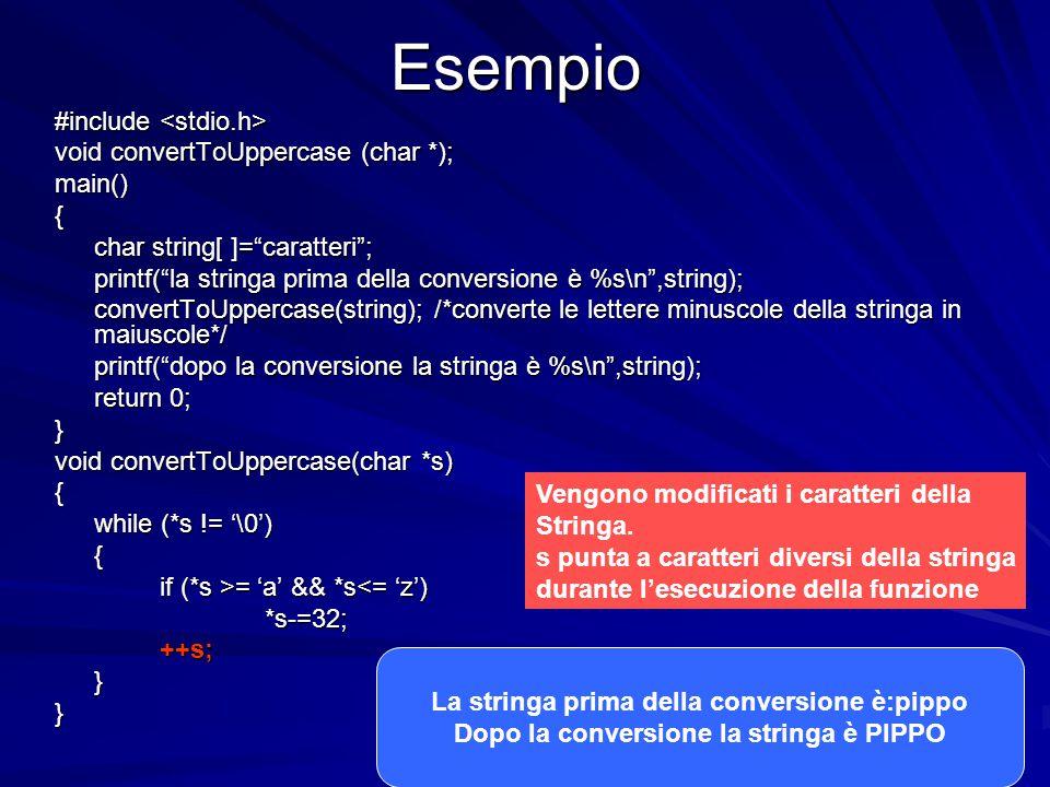 Prof.ssa Chiara Petrioli -- corso di programmazione 1, a.a. 2006/2007Esempio #include #include void convertToUppercase (char *); main(){ char string[
