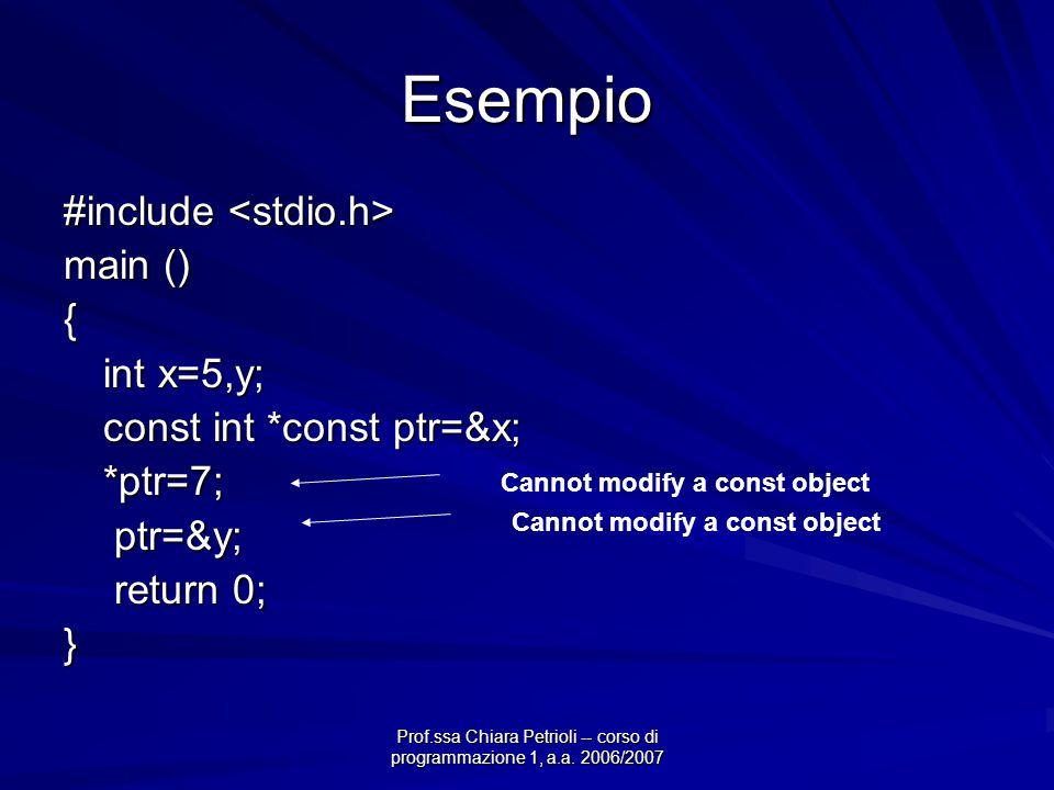 Prof.ssa Chiara Petrioli -- corso di programmazione 1, a.a. 2006/2007 Esempio #include #include main () { int x=5,y; const int *const ptr=&x; *ptr=7;