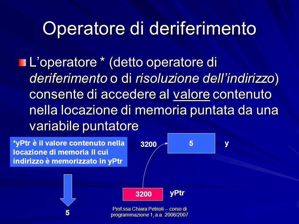 Prof.ssa Chiara Petrioli -- corso di programmazione 1, a.a. 2006/2007 Operatore di deriferimento L'operatore * (detto operatore di deriferimento o di