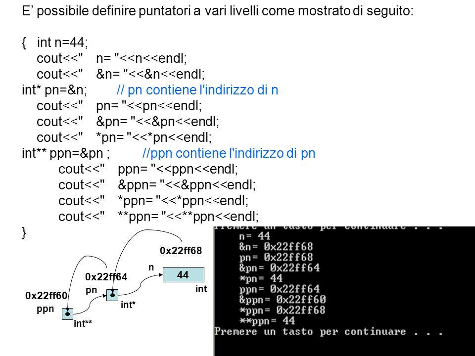20 E' possibile definire puntatori a vari livelli come mostrato di seguito: { int n=44; cout<< n= <<n<<endl; cout<< &n= <<&n<<endl; int* pn=&n; // pn contiene l indirizzo di n cout<< pn= <<pn<<endl; cout<< &pn= <<&pn<<endl; cout<< *pn= <<*pn<<endl; int** ppn=&pn ; //ppn contiene l indirizzo di pn cout<< ppn= <<ppn<<endl; cout<< &ppn= <<&ppn<<endl; cout<< *ppn= <<*ppn<<endl; cout<< **ppn= <<**ppn<<endl; } 44 ppn int** pn int* n int 0x22ff60 0x22ff68 0x22ff64